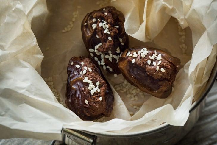 Chocolate Hummus Stuffed Dates