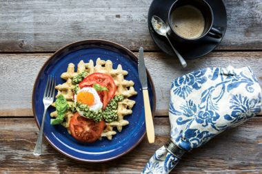 Chickpea Waffles With Tomatoes, Fried Egg, and Basil Sauce