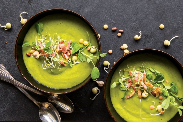 French Lettuce and Pea Soup with Turkey Bacon
