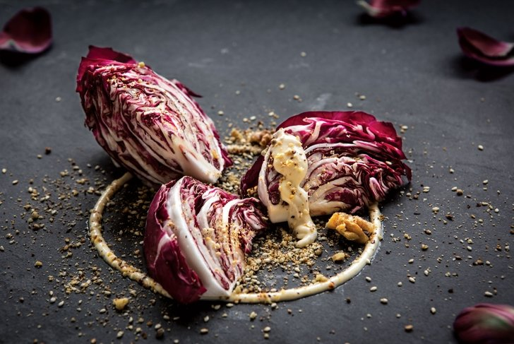 Radicchio Wedge Salad with Honey Mustard Dressing and Walnut Crumble