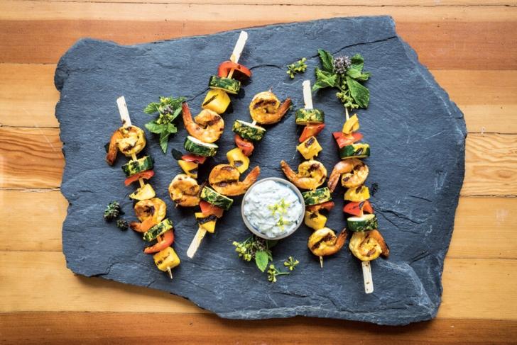 Tandoori-Style Shrimp and Mango Kebabs