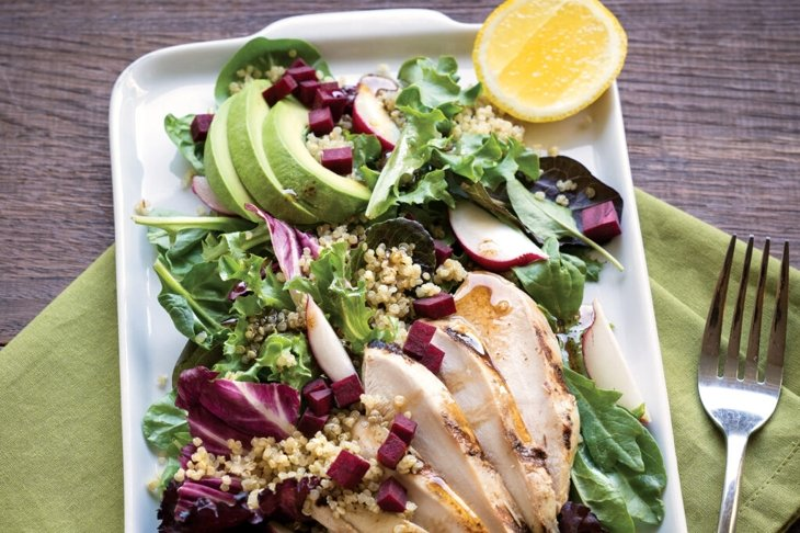 Whey-Brined Chicken with Avocado, Beets, Quinoa, and Greens