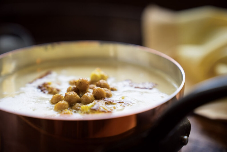 Cream of Cauliflower Soup with Curried Chickpea Croutons