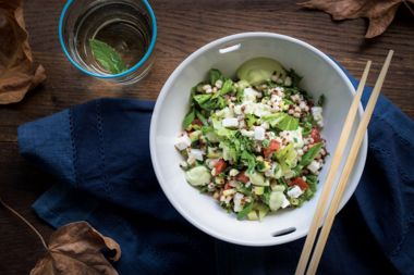 Barley and Wilted Lettuce Stir-Fry with Creamy Avocado Tahini