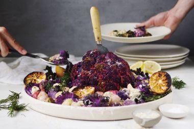 Whole Roasted Cauliflower With Warm Kale Salad