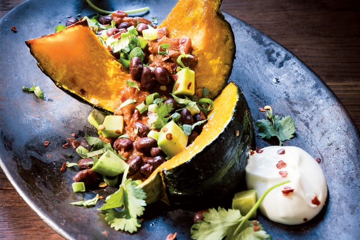 Stuffed Squash Laced with Smoky Rich Tomato Sauce