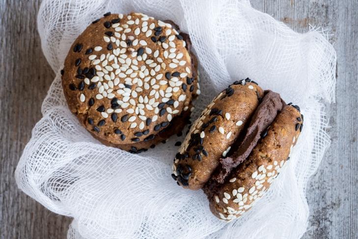 Chocolate-Tahini and Ginger Sandwich Cookies