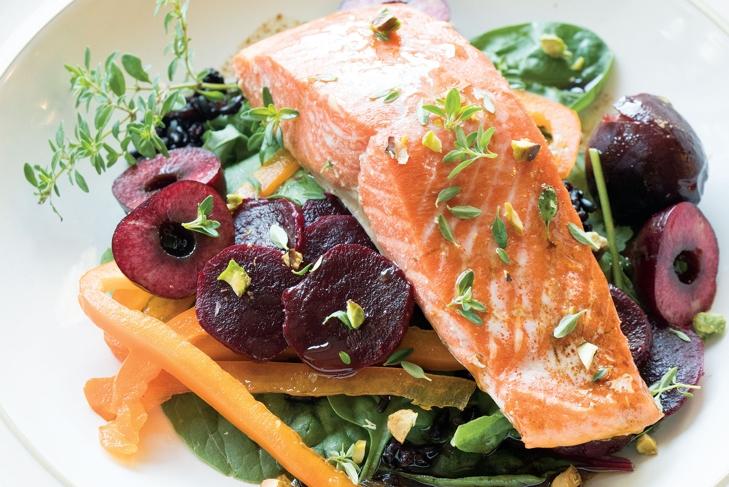 Salmon Beet Salad with Cherry Dressing