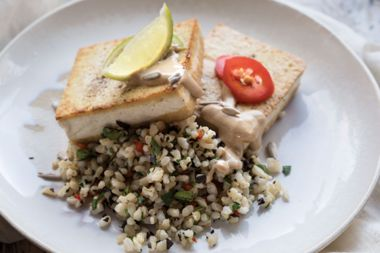 Tofu Steaks with Sunflower Butter Sauce