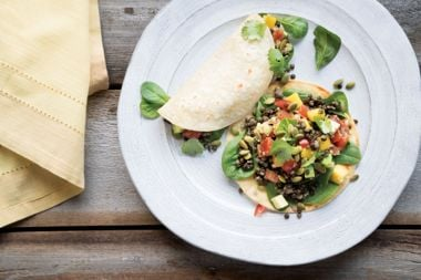 Black Lentil Tacos with Chunky Guacamole