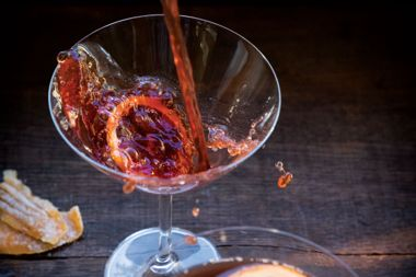 Cherry, Blood Orange, and Ginger Kombucha Spritz