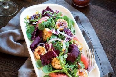 "Grapefruit and Mushroom ""Scallop"" Salad"