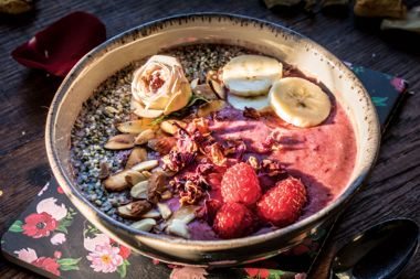 Red Berry, Rose, and Almond Smoothie Bowl