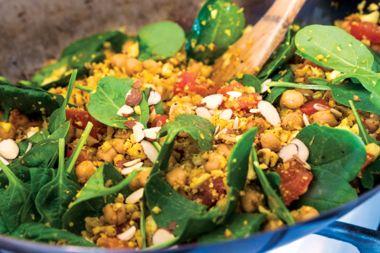 Masala Chickpea Stir-Fry with Golden Cauliflower Rice