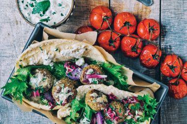 Tempeh & Walnut Falafel with Vegan Tzatziki Sauce