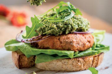 Salmon Burgers with Broccoli Pesto