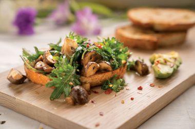 Sautéed Miso Mushrooms, Greens, and Avocado Tartines