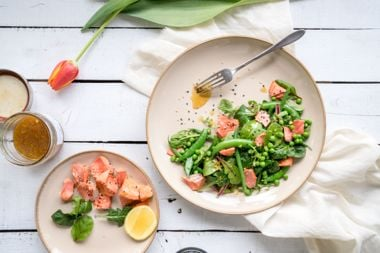 Fresh Greens and Salmon with Soy Citrus Dressing