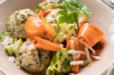 Chicken Florentine Meatballs and Veggie Noodles