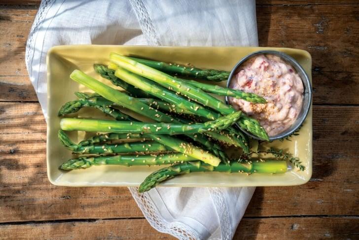 Red Pepper Yogurt Dip with Asparagus Dippers