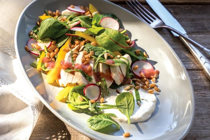 Chicken Spelt Salad with Strawberry Vinaigrette