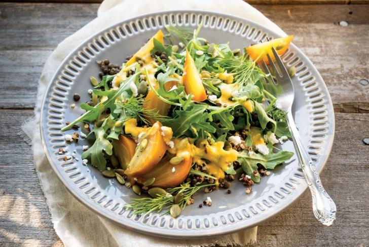 Beet Lentil Quinoa Salad with Carrot Dressing