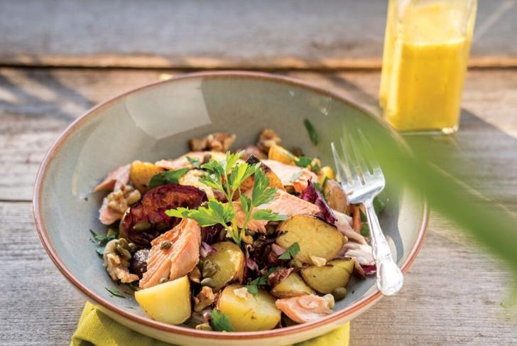 Potato Trout Salad with Golden Milk Dressing