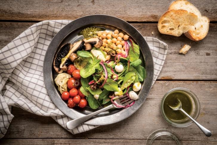 Grilled Mushroom Salad with Pesto Dressing