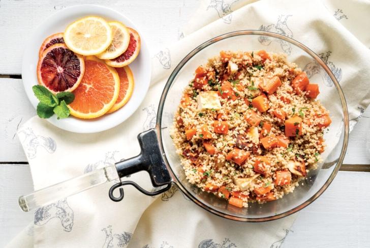 Couscous, Carrot, Mint, and Halloumi Pilaf