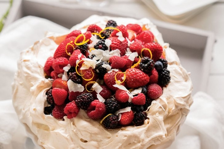 Pavlova with Berries and Lemon-Coconut Whipped Cream