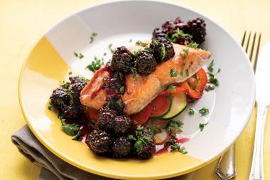 Salmon En Papillote with Blackberry Sauce