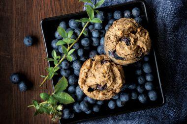 Sweet Potato Blueberry Pancake Muffins