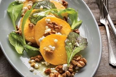Scalloped Rutabagas with Maple Walnut Dressing