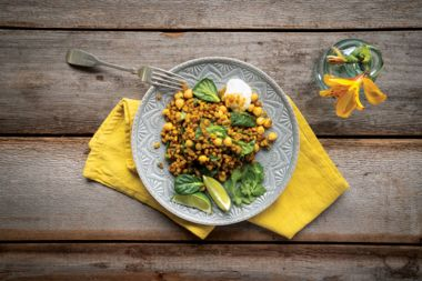 Spiced Indian Barley Stir-Fry with Chickpeas and Spinach