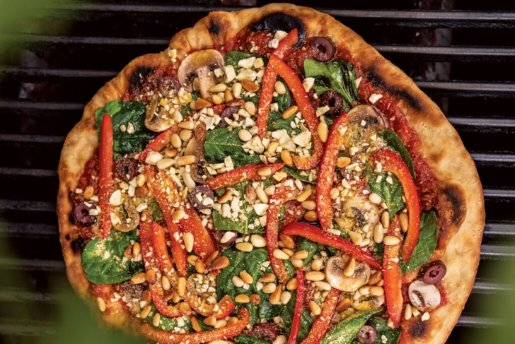 Grilled Pizza with Cashew Parmesan