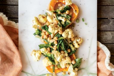 Roasted Garlic Vegetables with Citrus Tahini Dressing