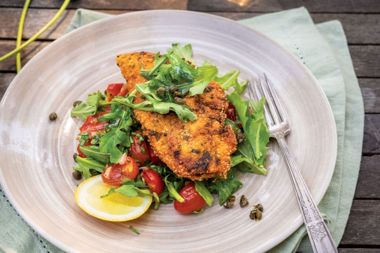 Garlic Braised Tomato Salad with Crusted Chicken Scaloppini and Fried Capers