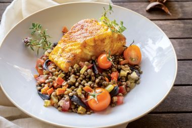 Puy Lentils with Sweet Black Garlic and Curried Fish