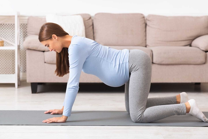 Prenatal Gymnastics. Pregnant woman standing at table pose on hands and knees on yoga mat. Free space