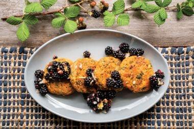 Roasted Jewel Yam Cakes with Blackberry Salsa