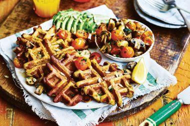 Sweet Potato Waffles with Sautéed Mushrooms