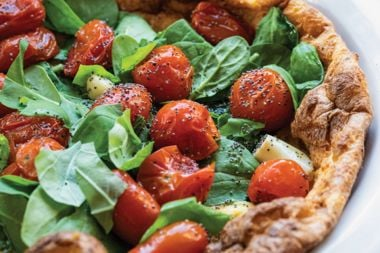 Dutch Baby with Confit Tomatoes and Spinach
