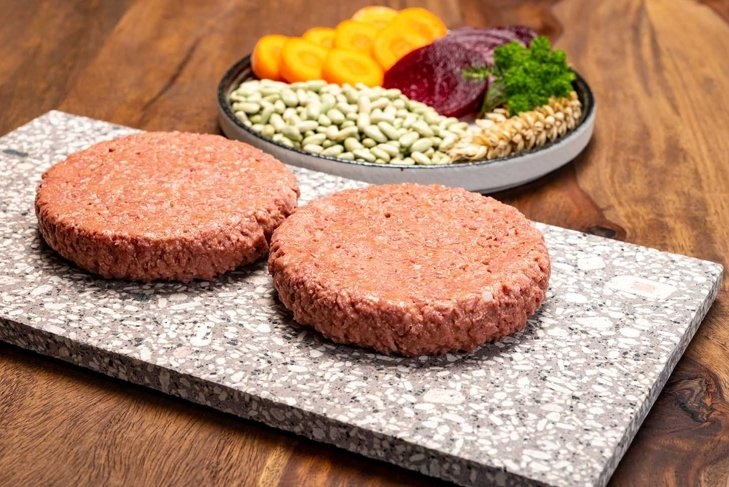 Source of fibre plant based vegan soya protein burgers, meat free healthy food close up