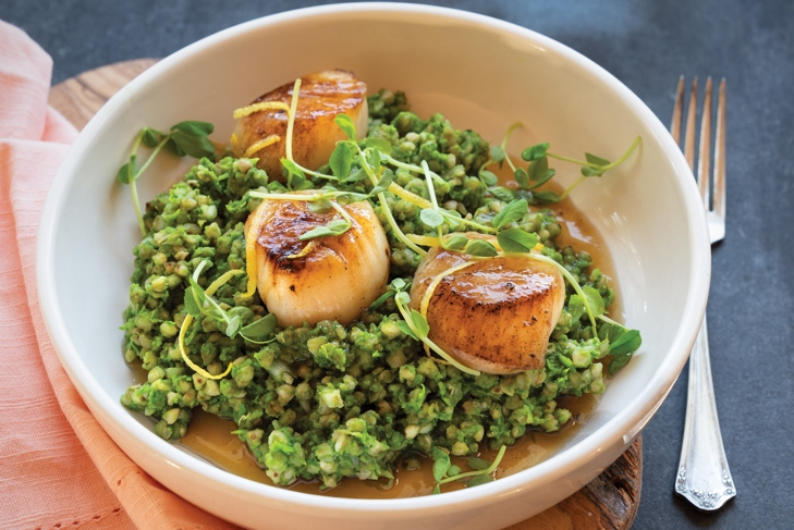 Maple Seared Scallops with Green Buckwheat Risotto