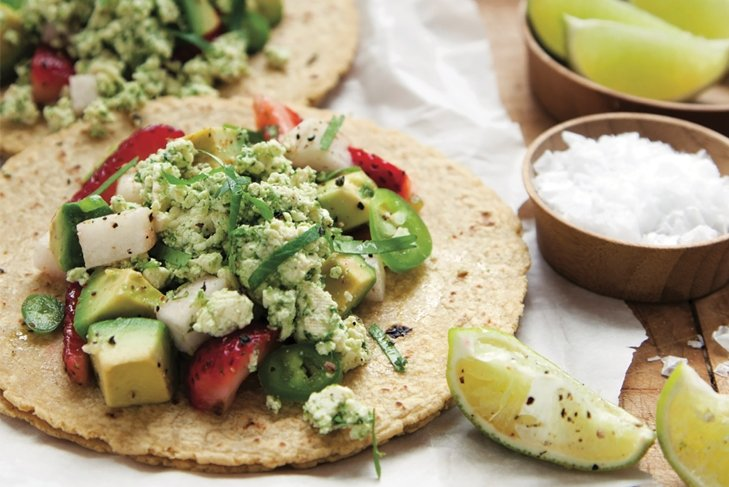 Raw Tostadas with Spicy Strawberry Avocado Salad and Cilantro Relish