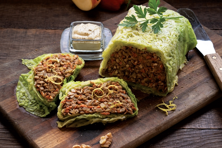 Smoky Lentil and Walnut Stuffed Cabbage