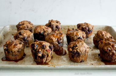 Berry-Walnut Muffins with Orange Glaze