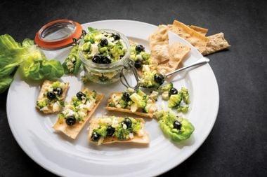 Raw Broccoli, Cauliflower, and Blueberry Caviar
