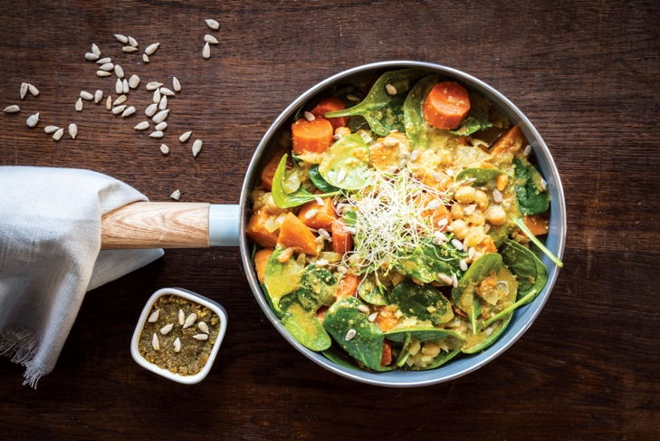 Sunflower Seed Turmeric Butter /Sweet Potato and Spinach Curry