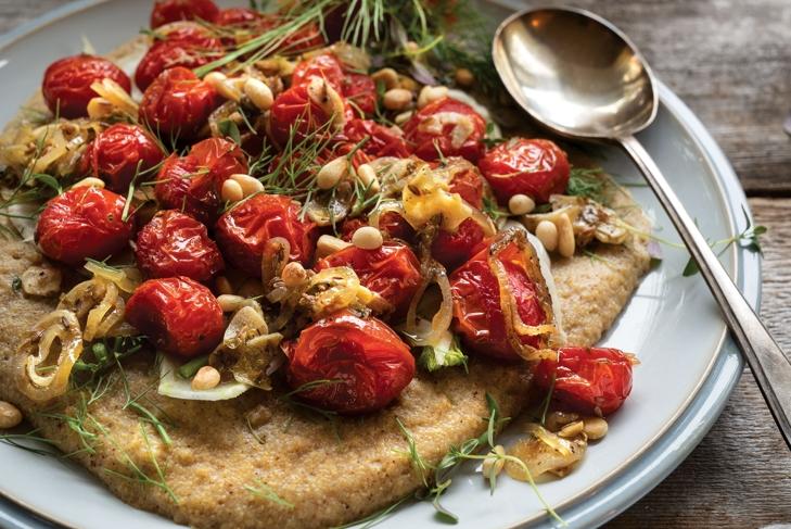 Roasted Cherry Tomatoes on Creamy Polenta